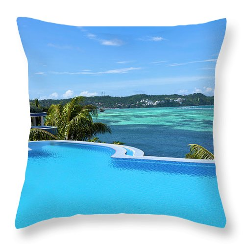Scenics Throw Pillow featuring the photograph Infinity Swimming Pool by 35007