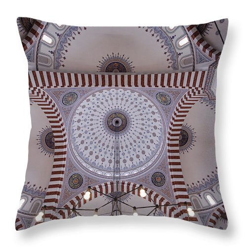 Inside Throw Pillow featuring the photograph Inside The Azadi Mosque At Ashgabat In Turkmenistan by Robert Preston