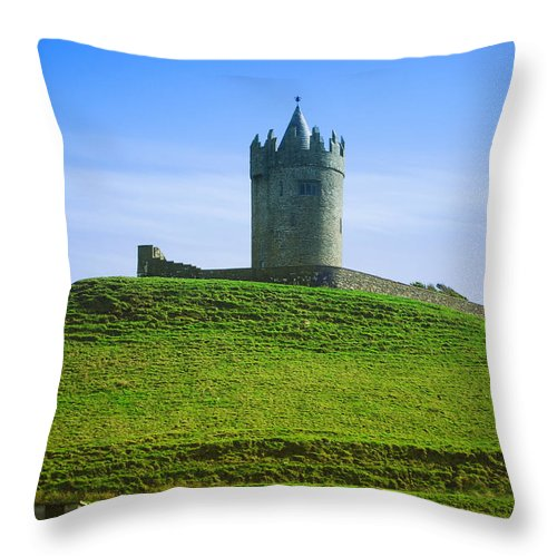 Ireland Throw Pillow featuring the photograph Irish Castle On Hill by Birgit Tyrrell