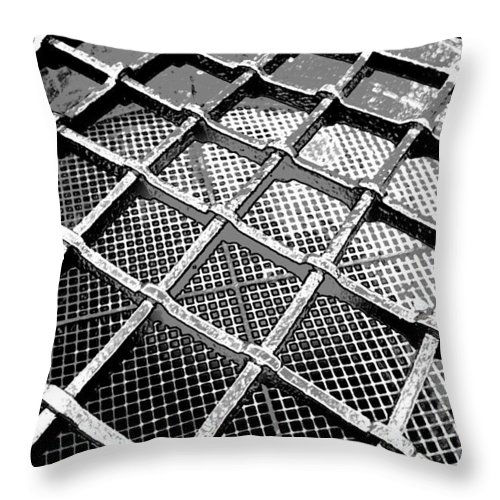 Canon Throw Pillow featuring the digital art Iron Protection On Mesh Covered Well Inside Edinburgh Castle by Ashish Agarwal