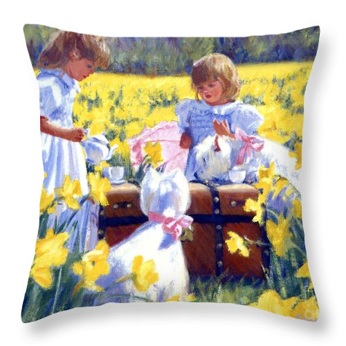 West Highland Terrier Throw Pillow featuring the painting Is That Tea by Candace Lovely
