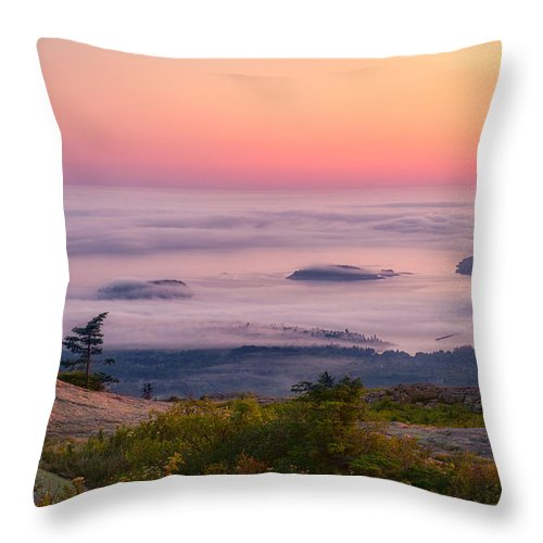 Acadia Throw Pillow featuring the photograph Islands In The Fog by Michael Blanchette