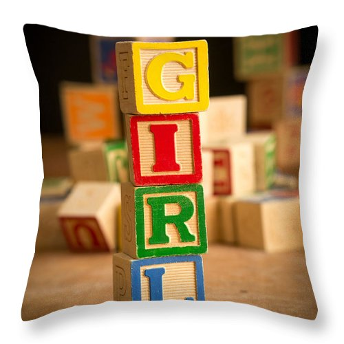 Abs Throw Pillow featuring the photograph Its A Girl - Alphabet Blocks by Edward Fielding