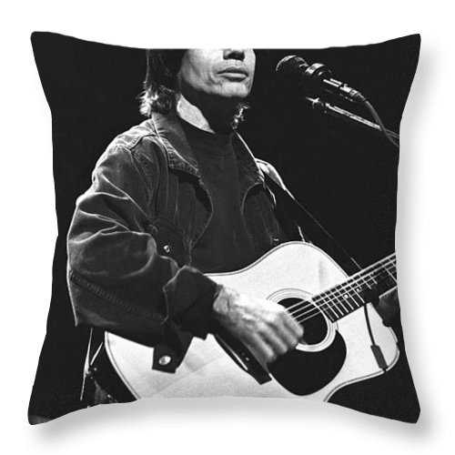 Clyde Jackson Browne Throw Pillow featuring the photograph Jackson Browne by Concert Photos