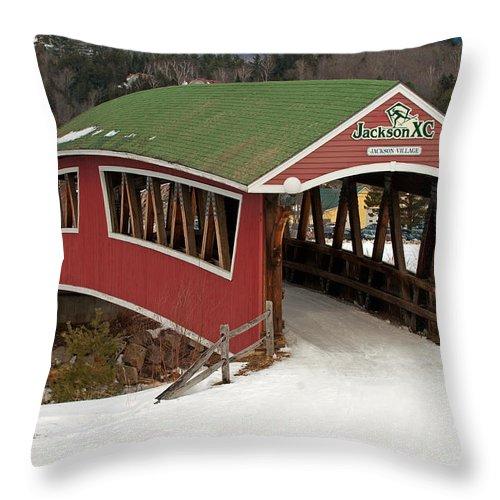 jackson Cross Country Skiing Bridge Throw Pillow featuring the photograph Jackson Cross Country Skiing Bridge by Paul Mangold