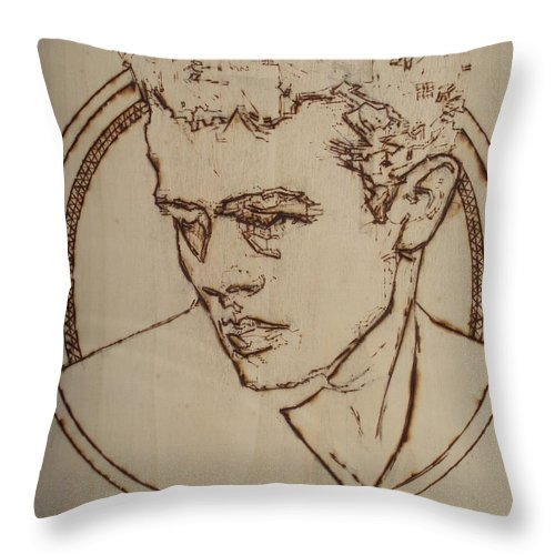 Pyrography;wood Burned;wood Burning;icon;legend;actor;americana;classic;hollywood;rebel;young Throw Pillow featuring the pyrography James Dean by Sean Connolly