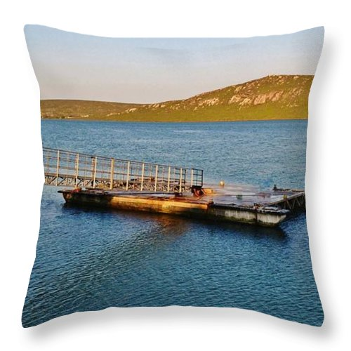 Langebaan Lagoon; Seascape; South Africa; West Coast; Atlantic Ocean; Blue; Background; Decorative; Hills; Water; Sea; Green; Sky; Sunrise; Landscape; Jetty; Throw Pillow featuring the photograph Jetty.... by Werner Lehmann