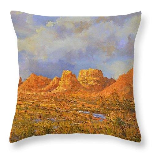 Joshua Tree National Park Throw Pillow featuring the painting Joshua Tree National Park 1 by Yinguo Huang