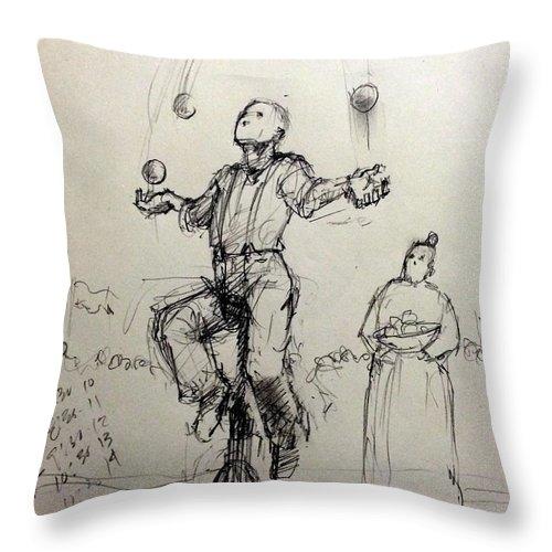 Juggler Throw Pillow featuring the drawing Juggler by H James Hoff