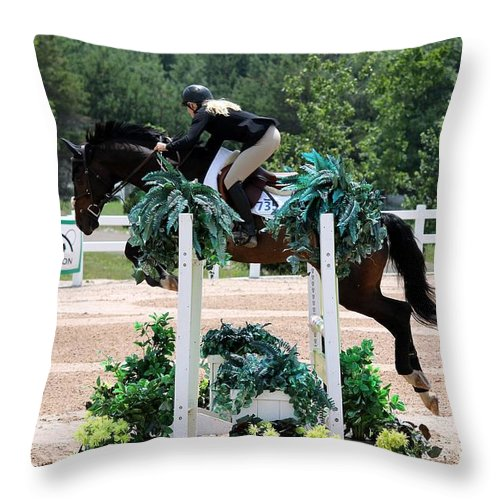 Equestrian Throw Pillow featuring the photograph Jumper102 by Janice Byer