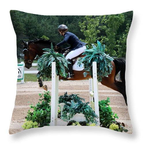 Equestrian Throw Pillow featuring the photograph Jumper104 by Janice Byer