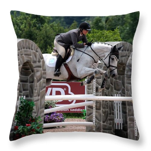 Equestrian Throw Pillow featuring the photograph Jumper106 by Janice Byer