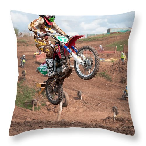 Motorcross Throw Pillow featuring the photograph Jumping High by Roy Pedersen