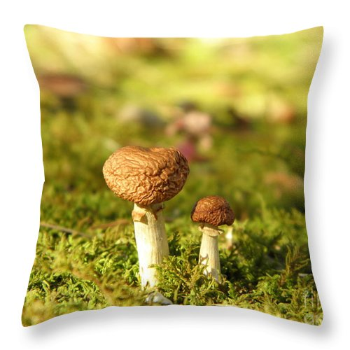 Mushrooms Throw Pillow featuring the photograph Just Us Two by Sharon Woerner