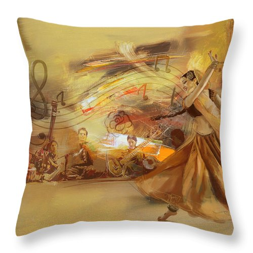 Dancer Throw Pillow featuring the painting Kathak Dancer 4 by Catf