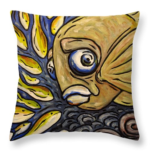 King Fish Throw Pillow featuring the painting Responsible Fish by Sean Washington