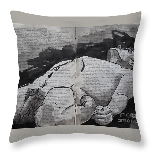 Nude Throw Pillow featuring the drawing King Lear 993 by M Bellavia