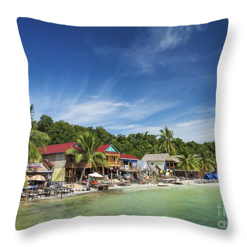 Asia Throw Pillow featuring the photograph Koh Rong Island Beach Bars In Cambodia by Jacek Malipan