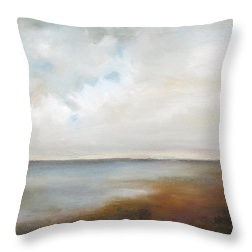Abstract Landscape Throw Pillow featuring the painting Lakeside by Karen Hale