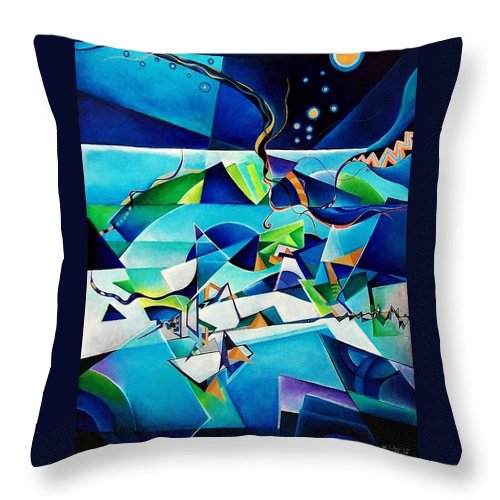 Landscpae Abstract Acrylic Wood Pens Throw Pillow featuring the painting Landscape by Wolfgang Schweizer