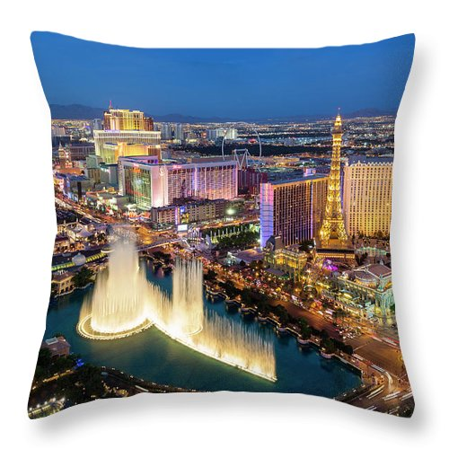 Las Vegas Replica Eiffel Tower Throw Pillow featuring the photograph Las Vegas Skyline At Dusk by Sylvain Sonnet