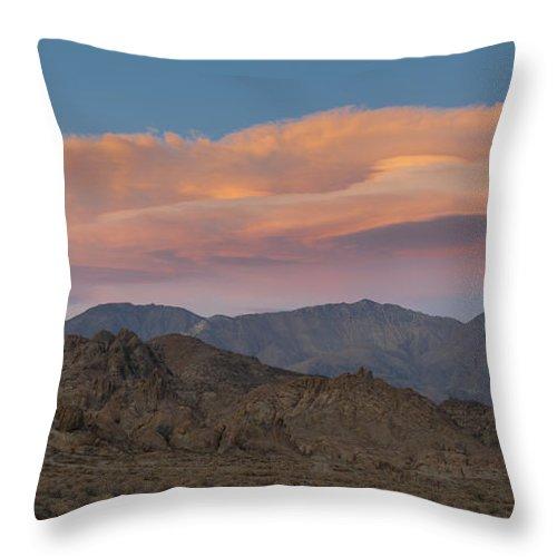 Alabama Hills Throw Pillow featuring the photograph Lenticular Clouds Over Alabama Hills by John Shaw
