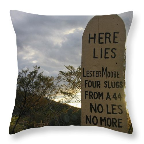 Lester Moore Grave Boothill Cemetery Tombstone Arizona 2004 Throw Pillow featuring the photograph Lester Moore Grave Boothill Cemetery Tombstone Arizona 2004 by David Lee Guss