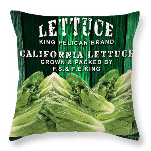 Lettuce Art Mixed Media Throw Pillow featuring the mixed media Lettuce Farm by Marvin Blaine