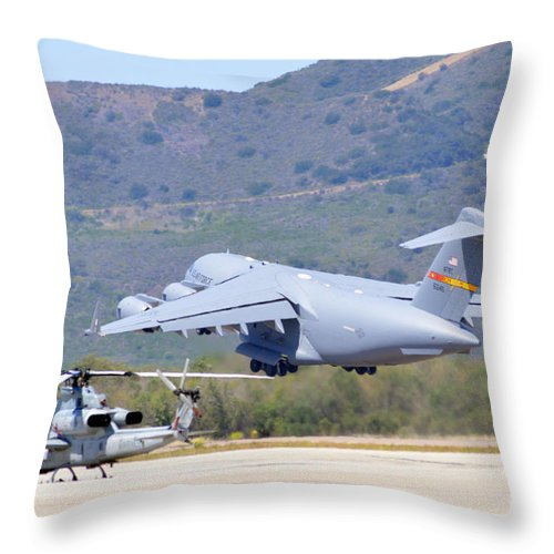 Usmc Throw Pillow featuring the photograph Lift Off by Tommy Anderson