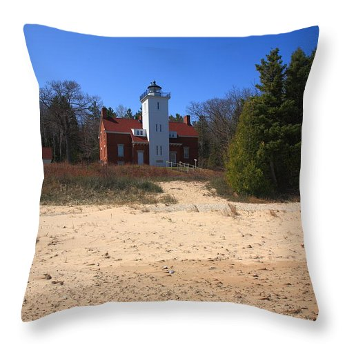 40 Throw Pillow featuring the photograph Lighthouse - 40 Mile Point Michigan by Frank Romeo