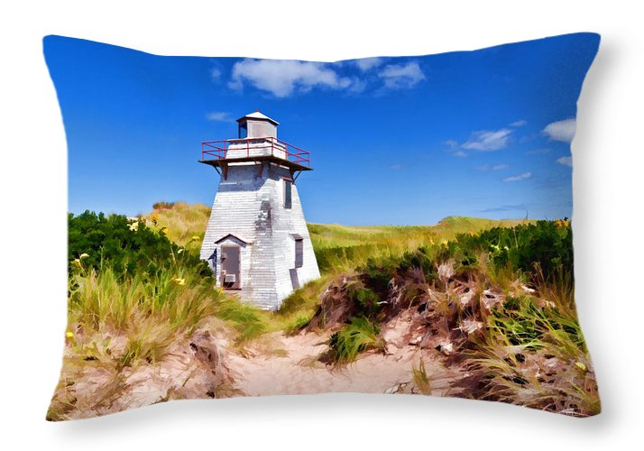 Lighthouse Throw Pillow featuring the photograph Lighthouse On The Dunes by Dan Dooley