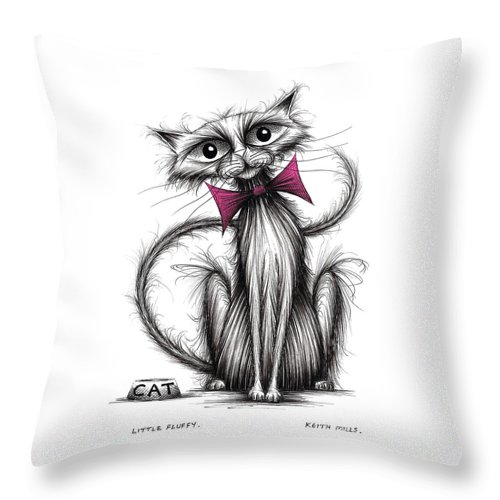 Little Fluffy Throw Pillow featuring the drawing Little Fluffy by Keith Mills