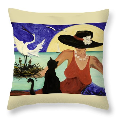 Colorful Art Throw Pillow featuring the painting Living The Dream by Gina De Gorna