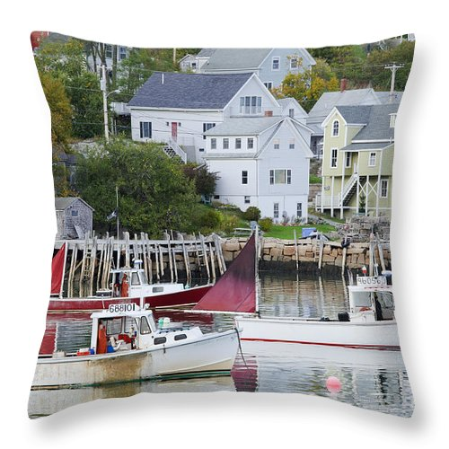 Boat Throw Pillow featuring the photograph Lobster Fishing Boats by John Shaw