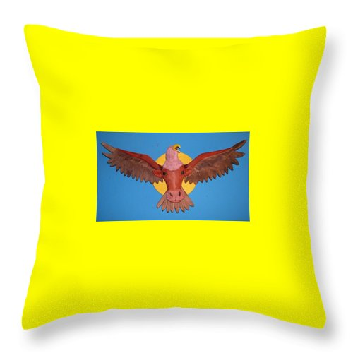 Eagle Throw Pillow featuring the sculpture Longhorn Eagle by Michael Pasko