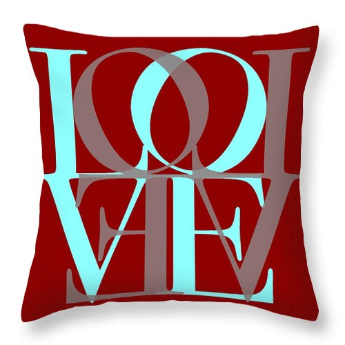 Love On Red Throw Pillow featuring the digital art Love Typography by Dan Sproul
