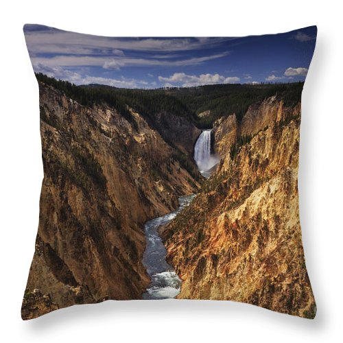 Artist Point Throw Pillow featuring the photograph Lower Yellowstone Falls II by Mark Kiver