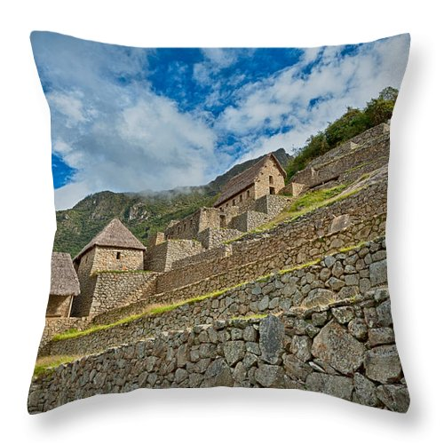 Aguas Calientes Throw Pillow featuring the photograph Machu Picchu by U Schade