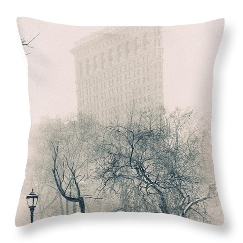 Faltiron Building. Iconic Throw Pillow featuring the photograph Madison Square Park by Jessica Jenney