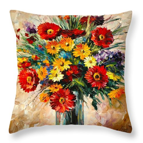 Magic Flowers Afremov Painting Palette Knife Art Handmade Surreal Abstract Oil Landscape Original Realism Unique Special Life Color Beauty Admiring Light Reflection Piece Renown Authenticity Smooth Certificate Colorful Beauty Perspective Golden Treasure Sunny Love Throw Pillow featuring the painting Magic Flowers 1 by Leonid Afremov