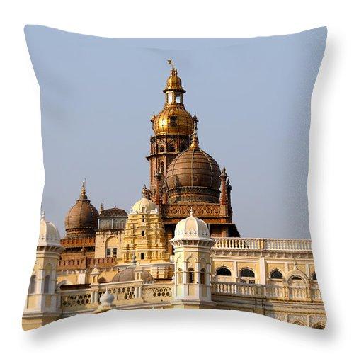 India Throw Pillow featuring the digital art Maharaja's Palace India Mysore by Carol Ailles