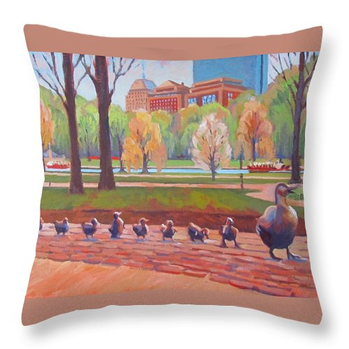 Boston Throw Pillow featuring the painting Make Way For Ducklings by Dianne Panarelli Miller
