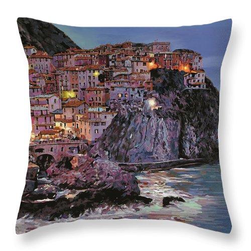 Manarola Throw Pillow featuring the painting Manarola al crepuscolo by Guido Borelli