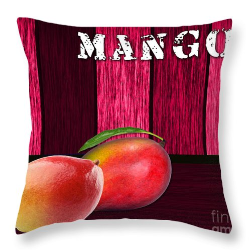 Food Photographs Mixed Media Throw Pillow featuring the mixed media Mango Farm Sign by Marvin Blaine