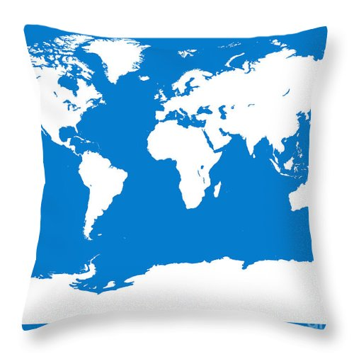 World Throw Pillow featuring the digital art Map In Blue And White by Jackie Farnsworth