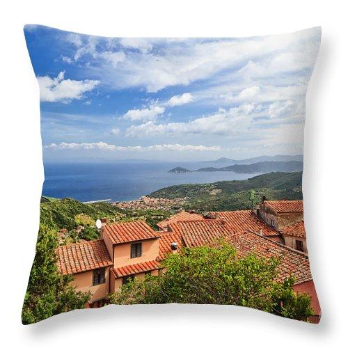 Ancient Throw Pillow featuring the photograph Marciana Village - Elba Island by Antonio Scarpi