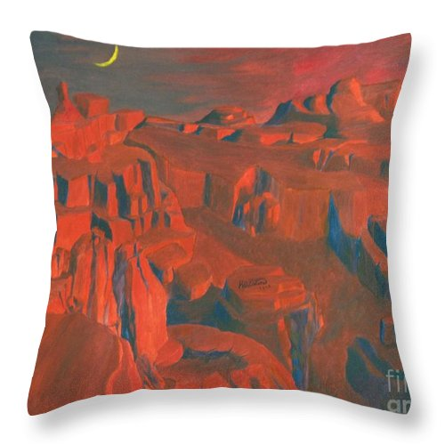Space Throw Pillow featuring the painting Mars by Richard Dotson