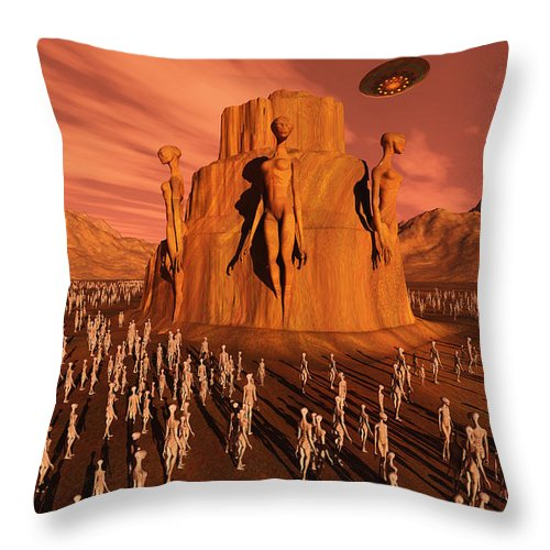 Horizontal Throw Pillow featuring the digital art Martians Gathering Around A Monument by Mark Stevenson