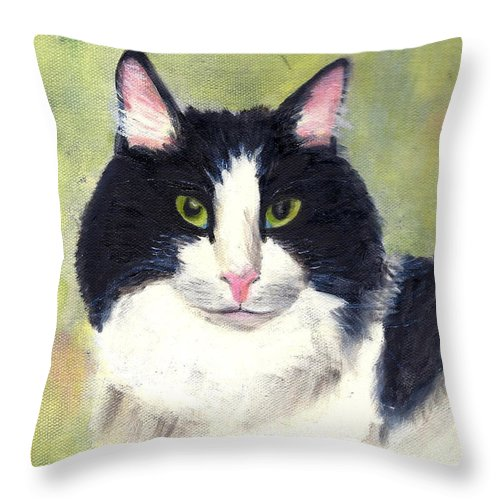 Animal Portrait Throw Pillow featuring the painting Matthew by Paula Emery