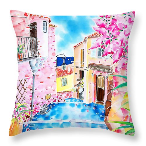 France Throw Pillow featuring the painting Mediterranean Wind by Hisayo Ohta